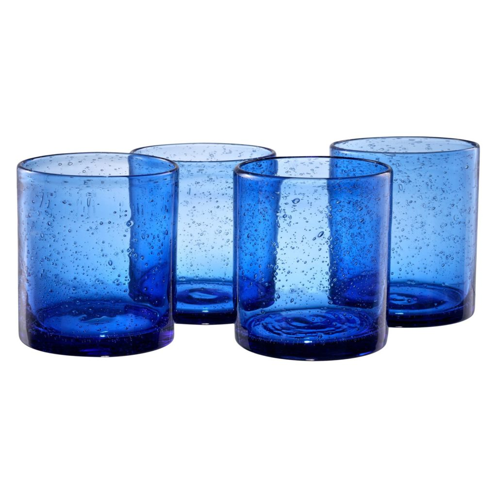 Cobalt Blue Bubble Double Old Fashioned Drinking Glasses