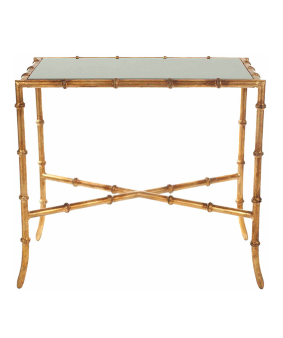 Gold Iron Bamboo Style Accent Table