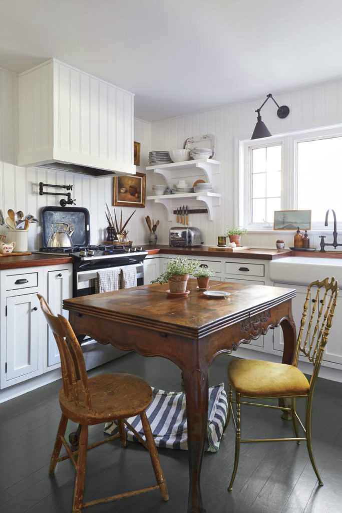 Hanna Seabrook's Louisville Kentucky Home Living Room White Farmhouse Kitchen Butcher Block Counter Tops