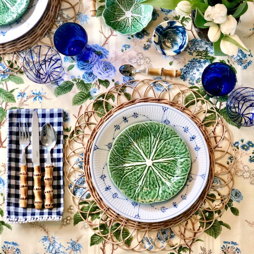 Lettuceware Table Setting Rattan Placemat Gingham Napkins
