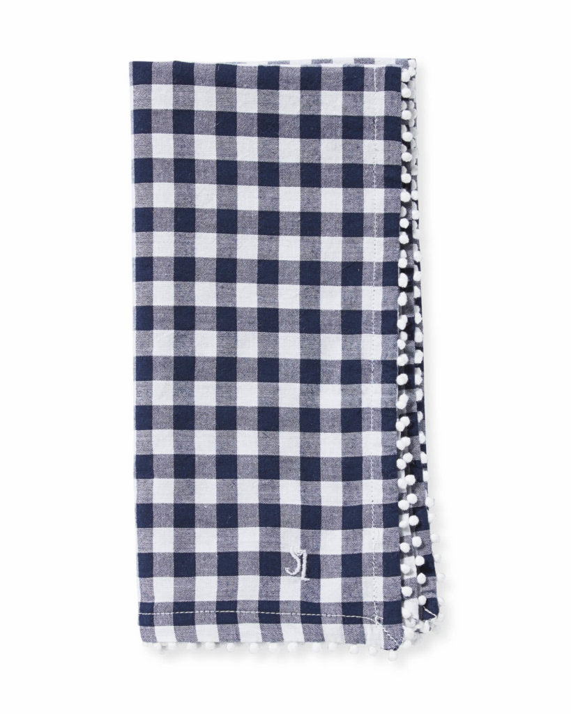 Navy Blue Gingham Dinner Napkins