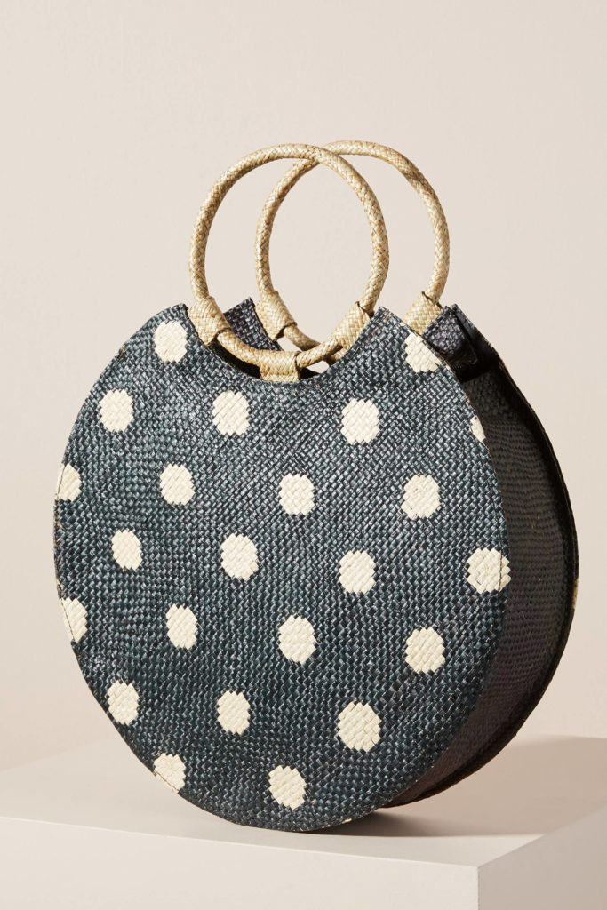 Polka Dot Woven Round Clutch