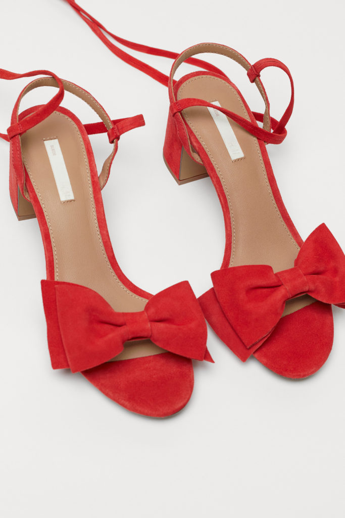 Suede Sandals with Bow