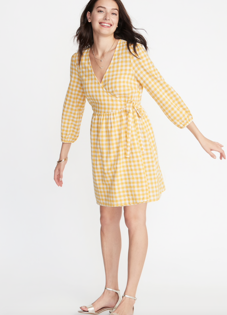 Yellow Front Wrap Dress