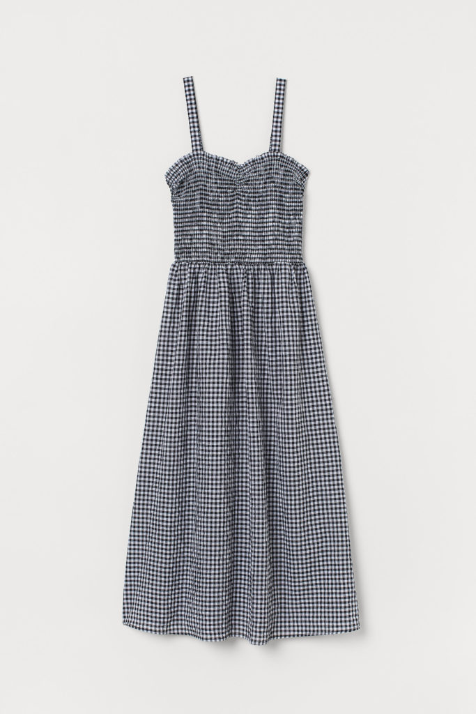 Black White Checked Dress with Smocking