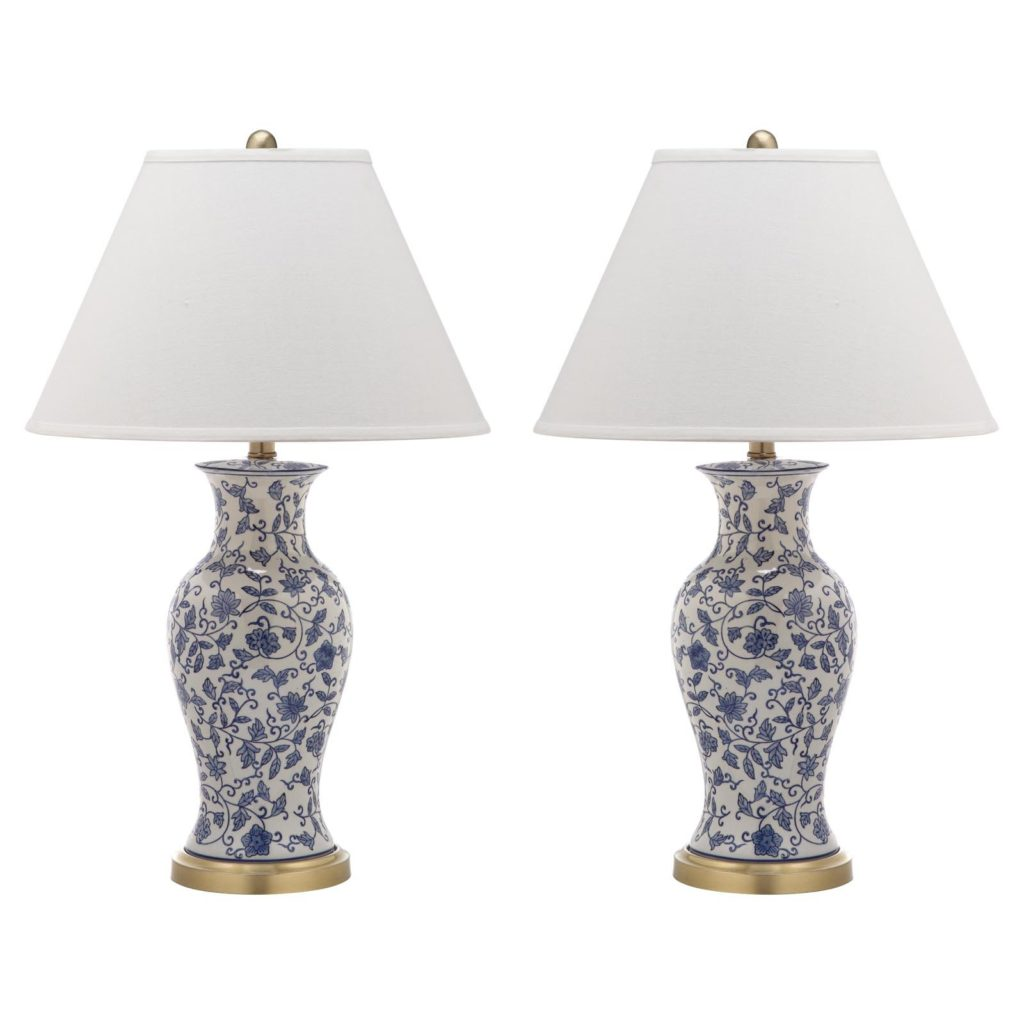 Blue and White Floral Table Lamps