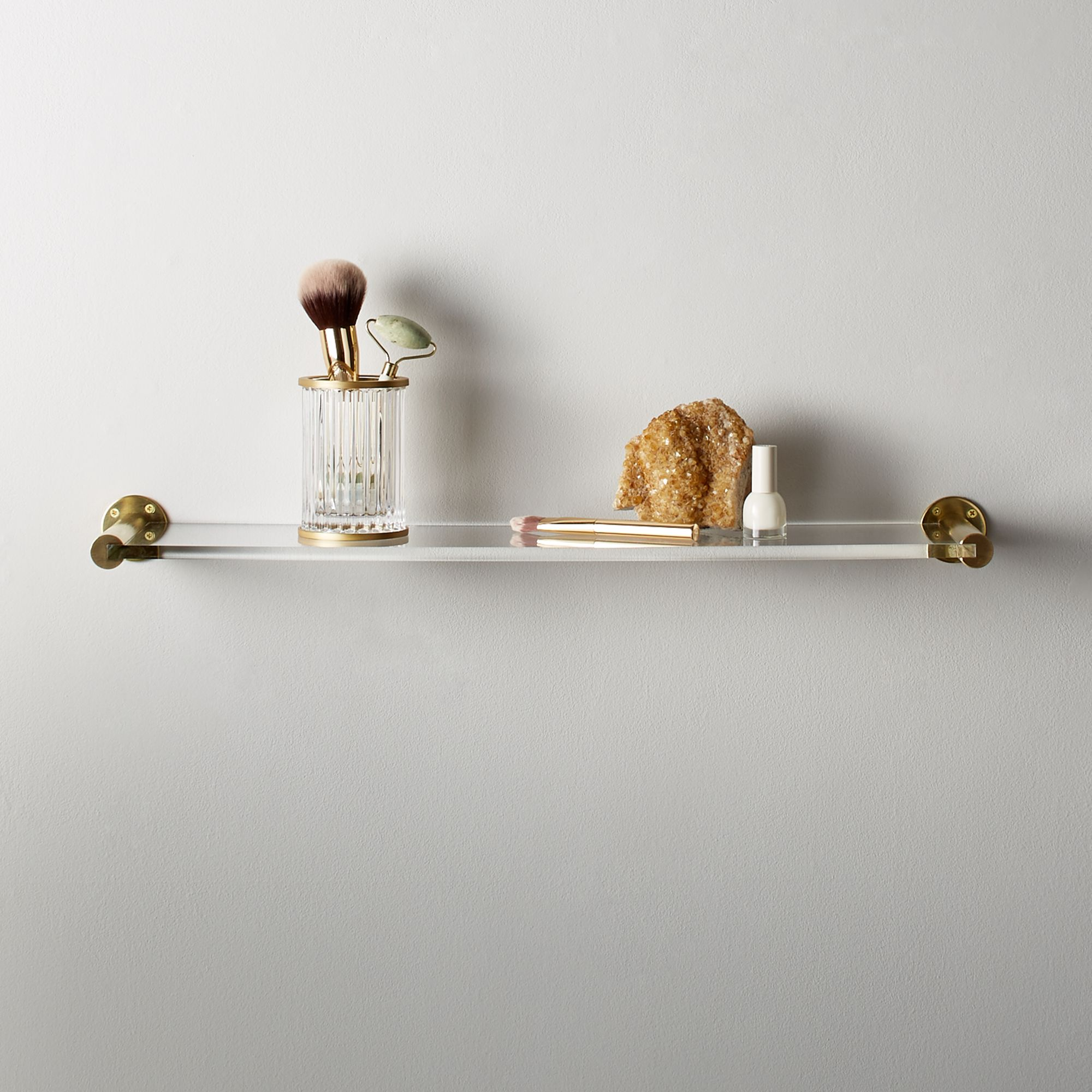 Brass and Acrylic Wall Shelf