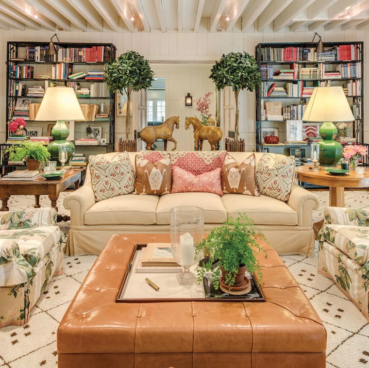 Living Room of 19 Georgica Road, East Hampton, New York decorated by Bunny Williams