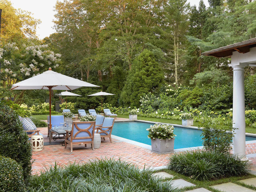 Pool of 19 Georgica Road, East Hampton, New York decorated by Bunny Williams