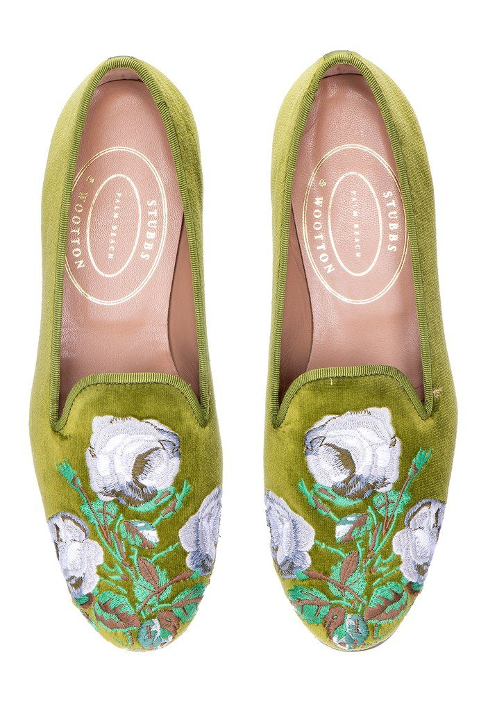 Bowood Colefax & Fowler Stubbs & Wootton Velvet Slipper Green Loafers