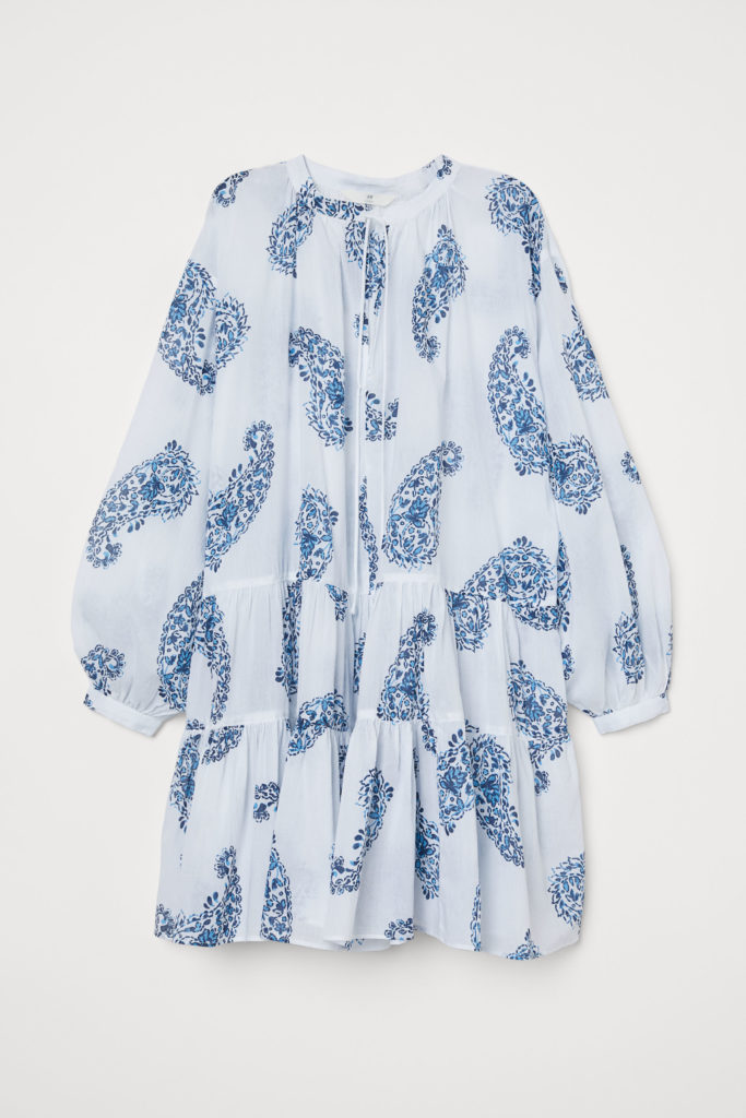 Blue and White Paisley Pattern Cotton Tunic Top Dress