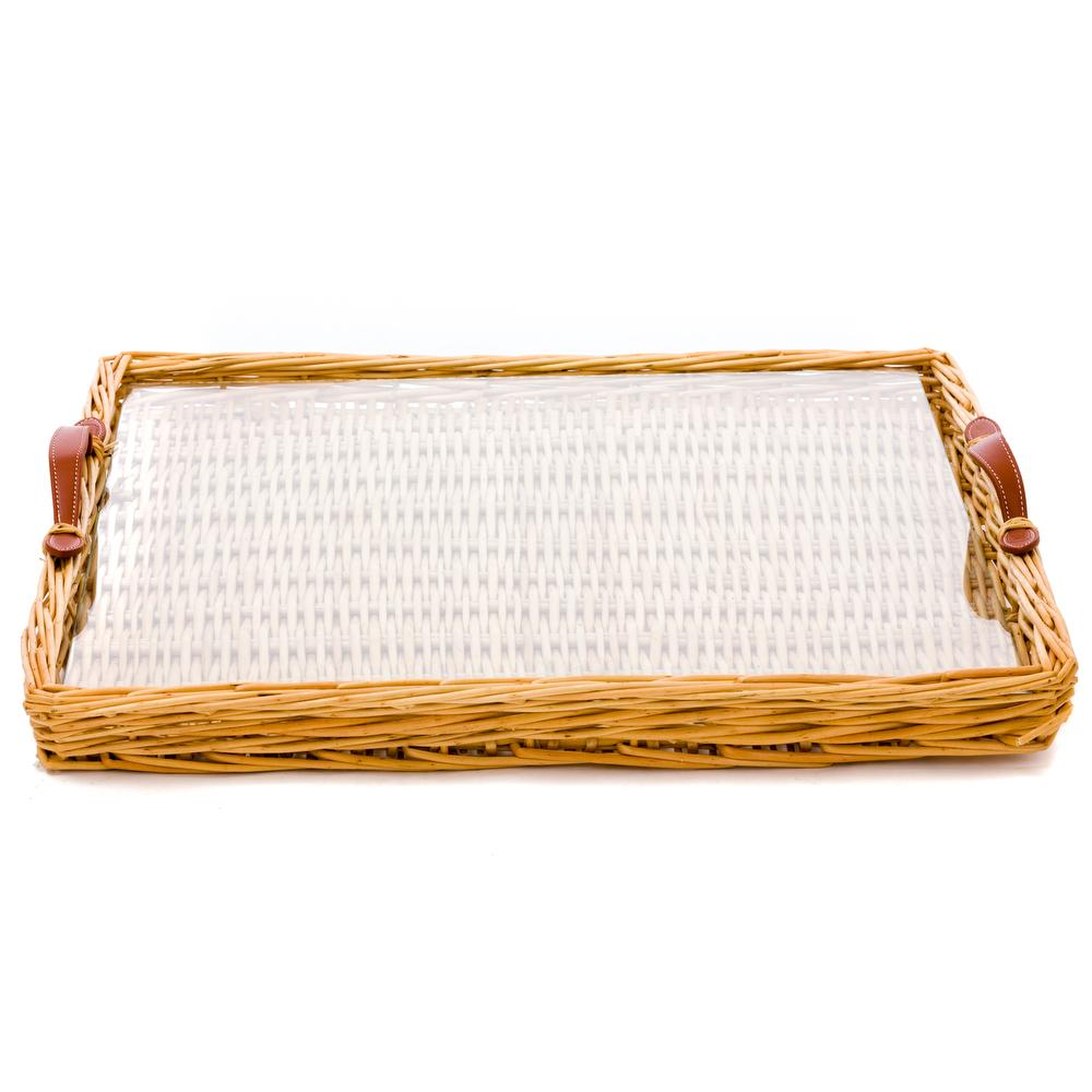Wicker and Glass Serving Tray