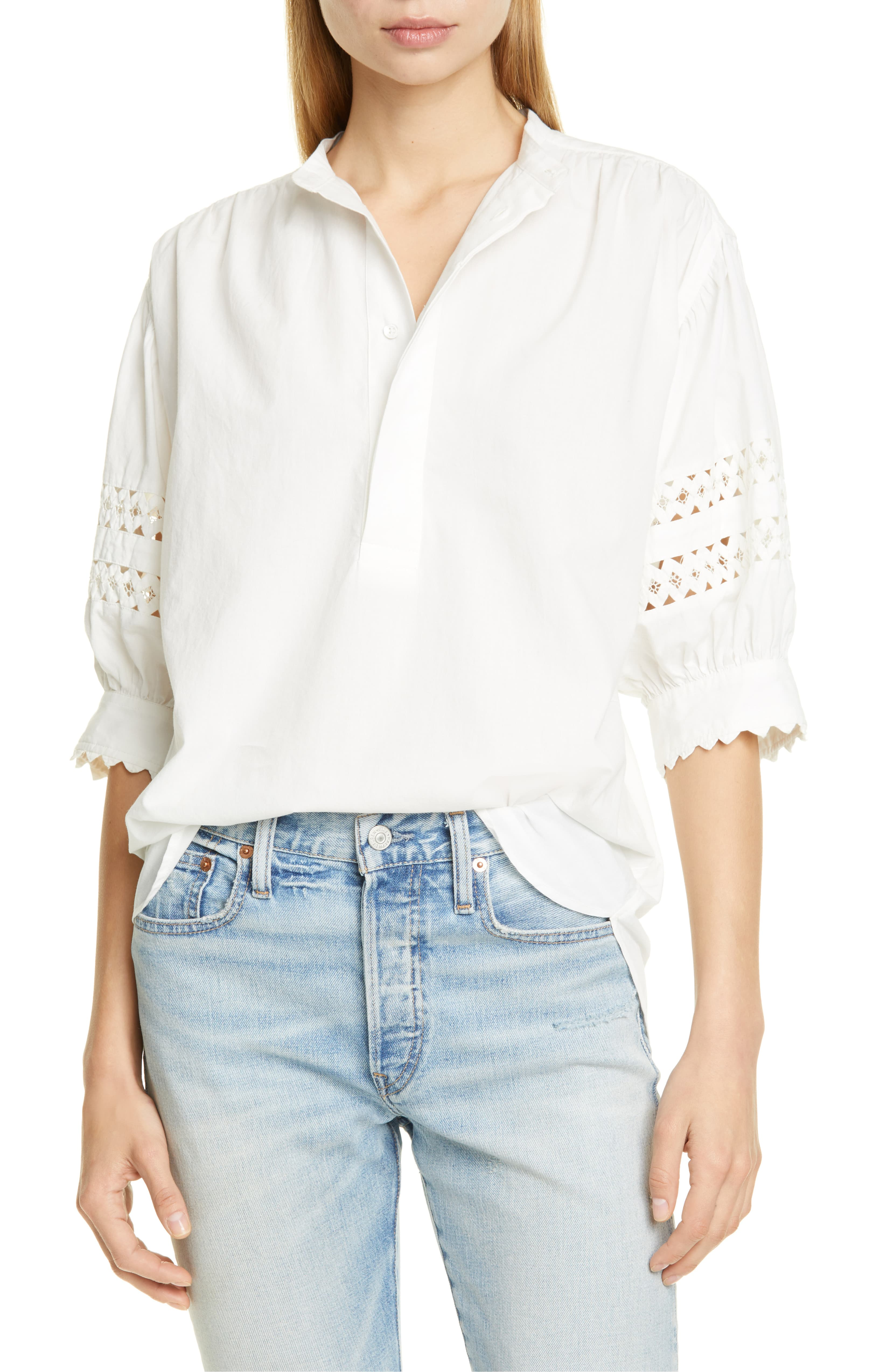 Billowed Sleeve Popover Top
