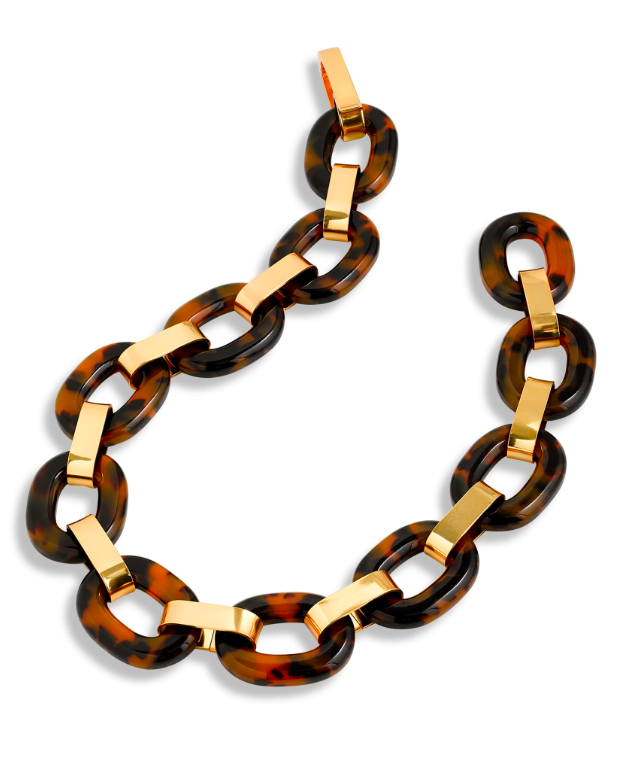 Lucite Tortoiseshell Chain Link Necklace Resin Brass Gold