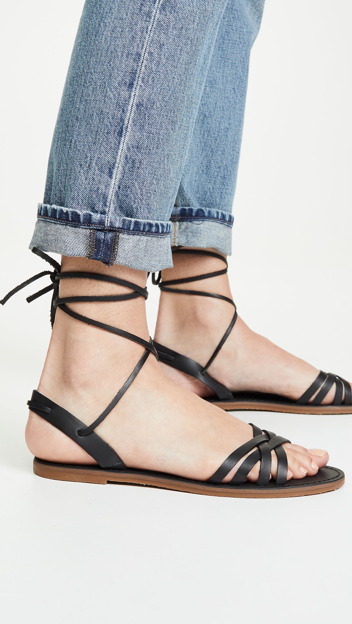 Woven Lace Up Sandals