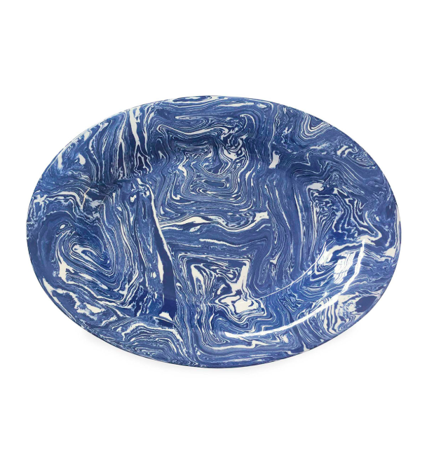 Marbled Blue and White Ceramic Oval Platter