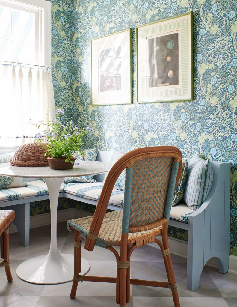 Ragan Cain Mountain Brook Alabama Kitchen Mark D. Sikes William Morris Wallpaper Floral Breakfast Nook Corner Banquette