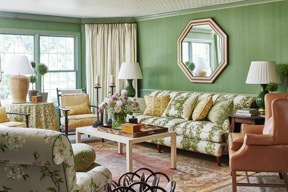 Ragan Cain Mountain Brook Alabama Mark D. Sikes Den Green Farrow & Ball Wallpaper
