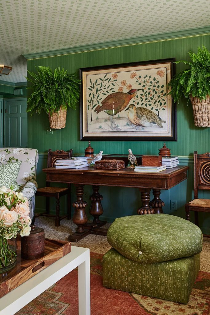 Ragan Cain Mountain Brook Alabama Mark D. Sikes Den Green Farrow & Ball Wallpaper Fern Hanging on Wall