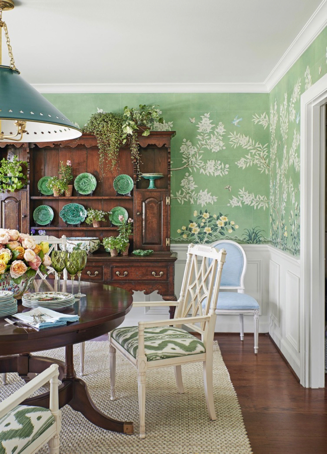 Ragan Cain Mountain Brook Alabama Dining Room Mark D. Sikes Green Gracie Wallpaper Chinoiserie Majolica Plates