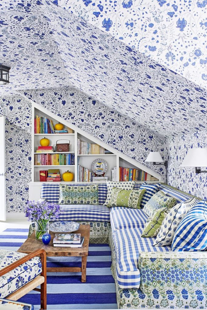 Ragan Cain Mountain Brook Alabama Mark D. Sikes Soane Floral Wallpaper Blue and White Gingham Sectional