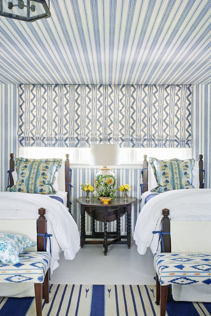 Ragan Cain Mountain Brook Alabama Mark D. Sikes Two Twin Beds Guest Bedroom Blue and White