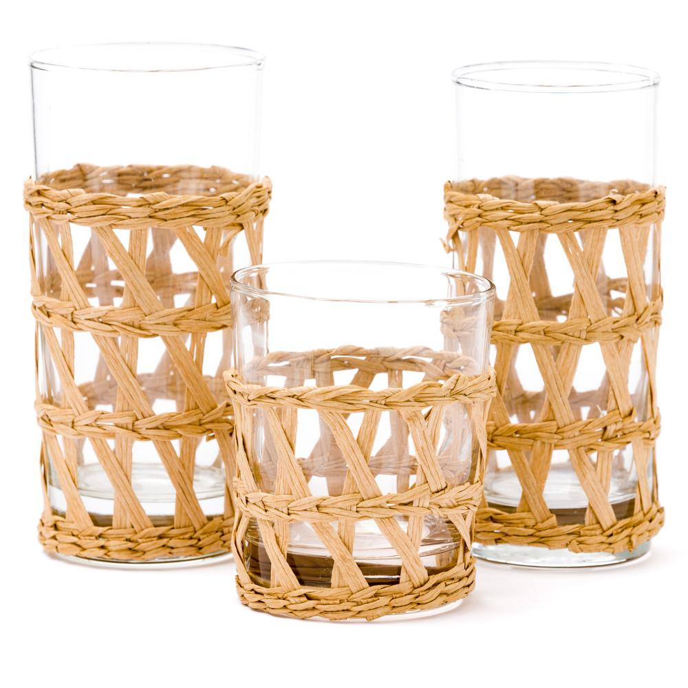 Wrapped Raffia Glassware
