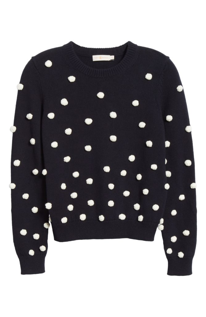 Navy Hand Crocheted Pom Pom Sweater Tory Burch Bauble