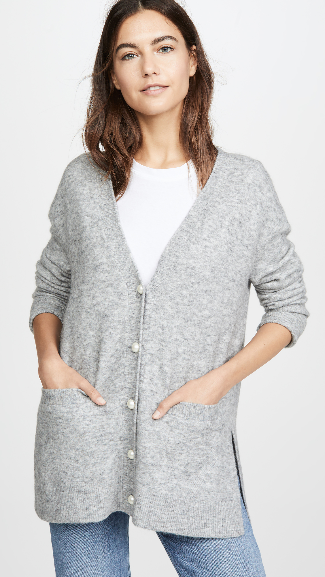 Pocket Cardigan with Pearl Buttons