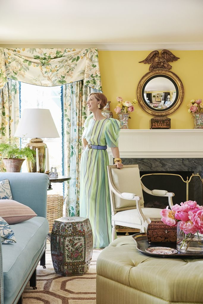 Ragan Cain Mountain Brook Alabama Living Room Mark D. Sikes Farrow & Ball Citron Yellow Walls Chintz Curtains Drapery