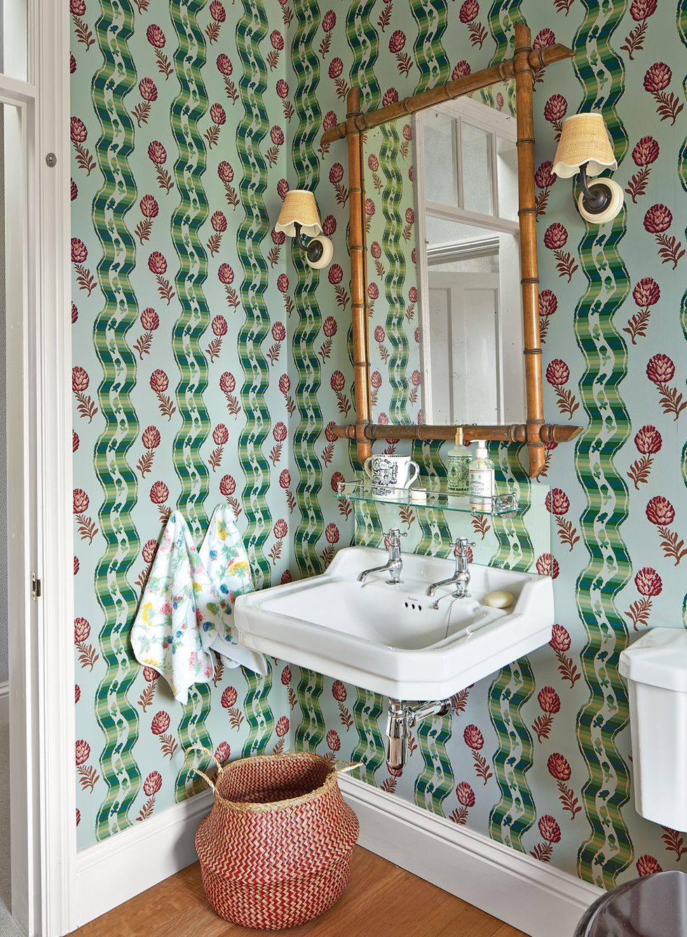 Rita Konig Powder Room Pierre Frey Wallpaper Bamboo Mirror