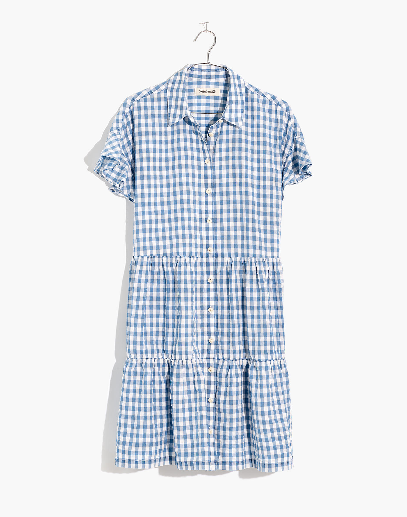 Tiered Gingham Shirtdress
