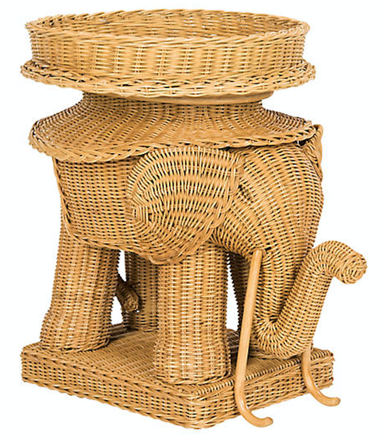 Rattan Elephant Side Table