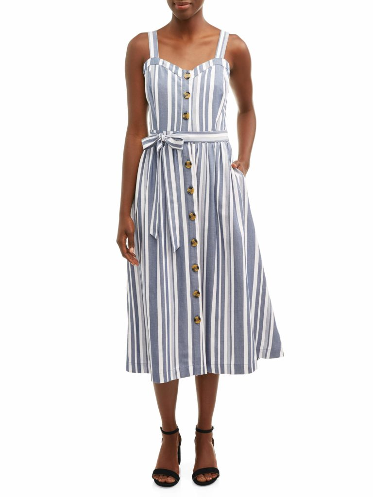 Stripe Midi Button Front Dress