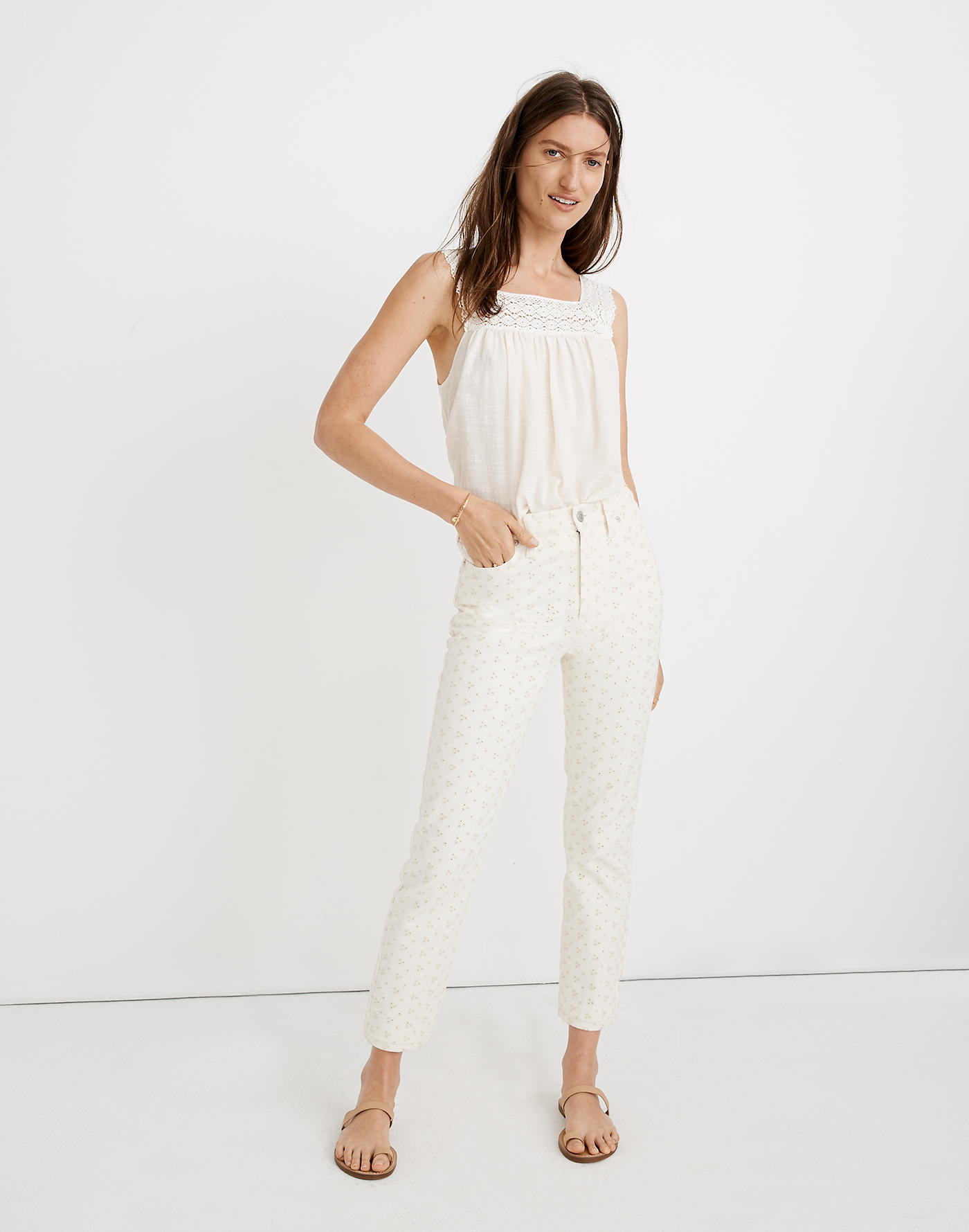 Embroidered Eyelet Jean