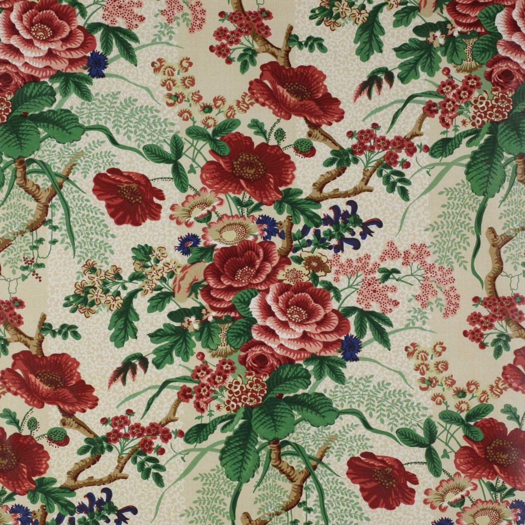Tree Poppy Fabric by Colefax and Fowler Textile Red Green Floral Print