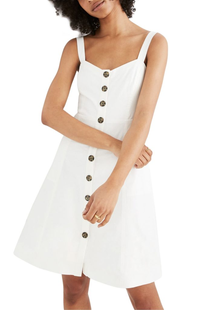 White Button Front Tank Dress Madewell