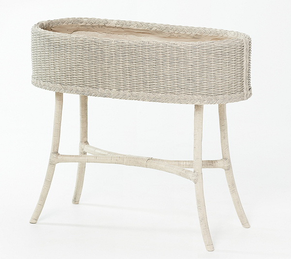 Faux Wicker Planter Stand