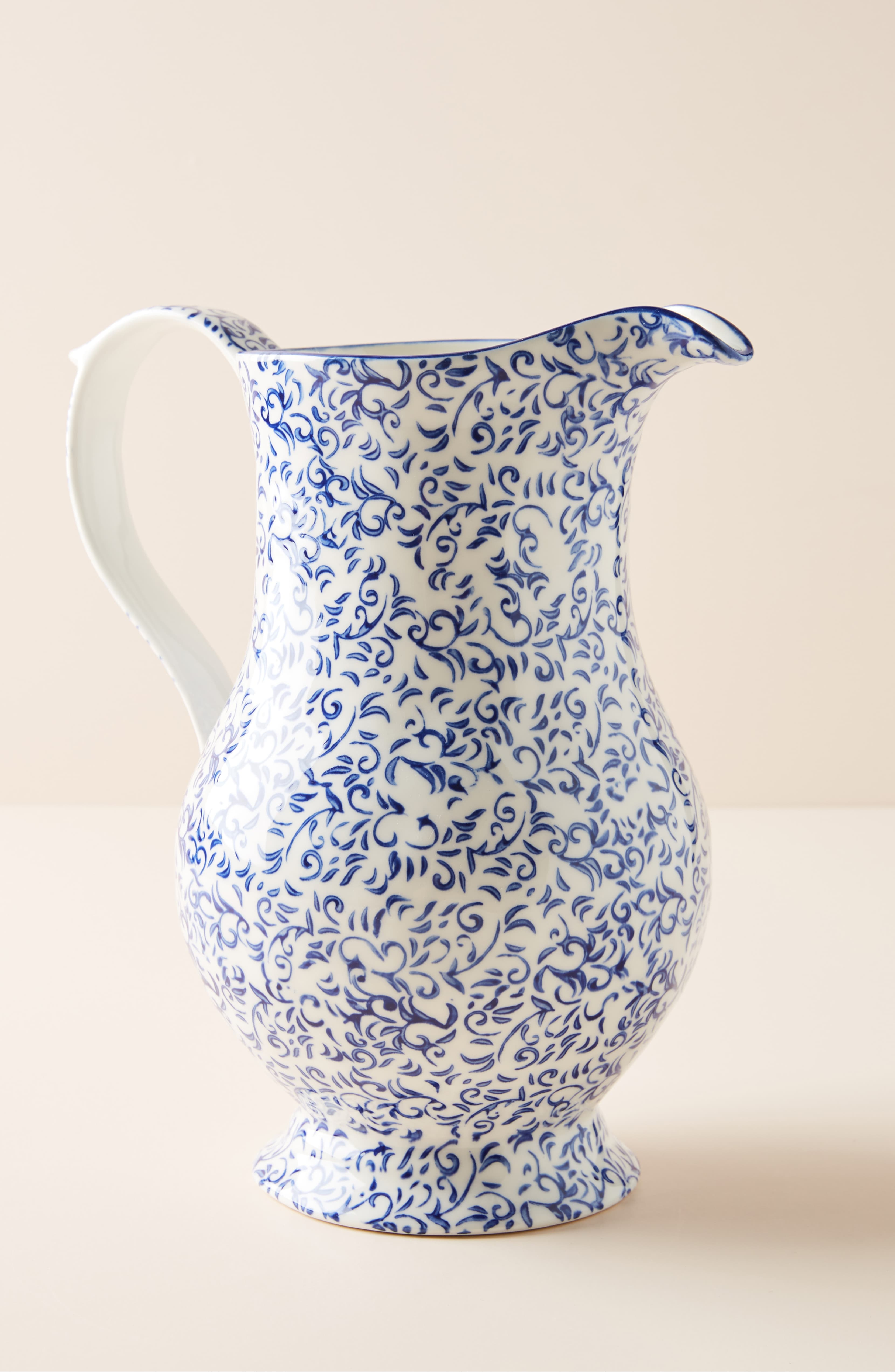 Blue Floral Stoneware Pitcher