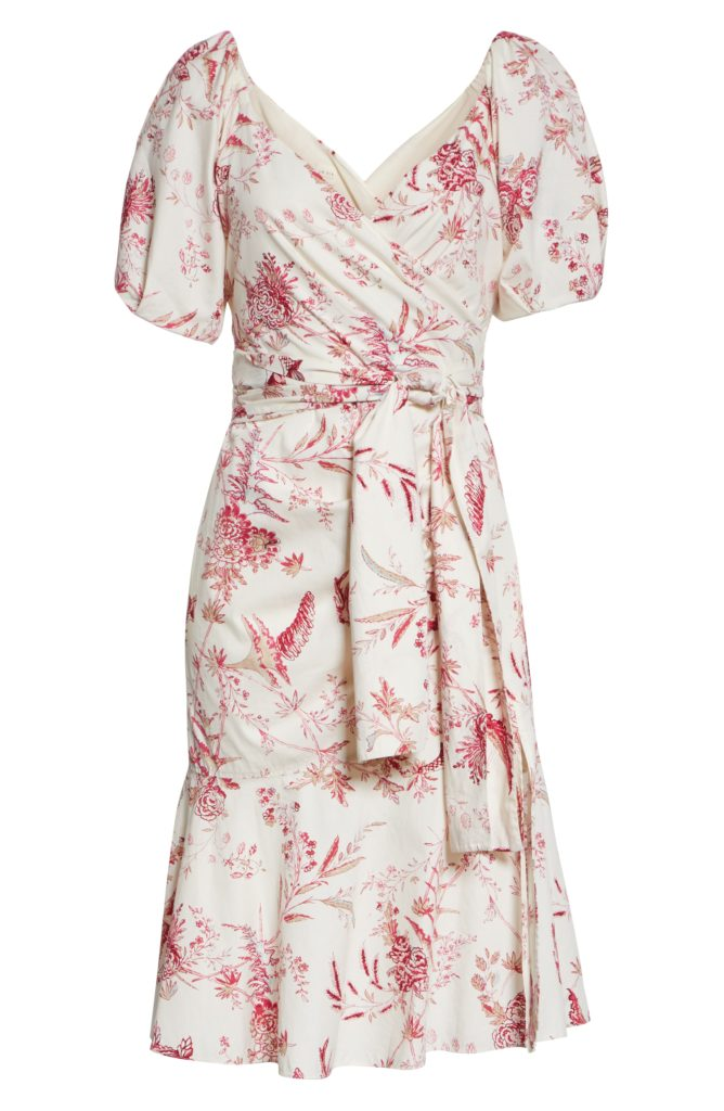 Red and White Toile Wrap Dress