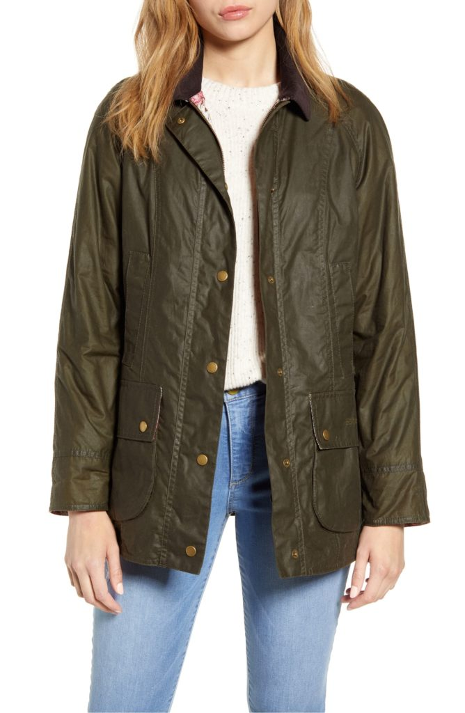 Barbour Green Waxed Cotton Canvas Coat