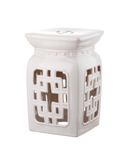 Filigree Garden Stool Ceramic White