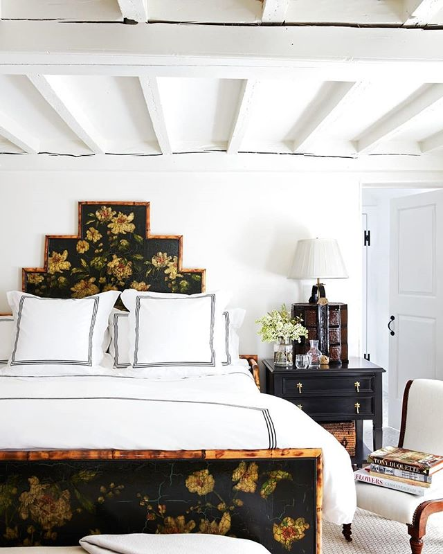 Black Antique Decoupage Floral Bamboo Bed Nantucket Bedroom by Libby Cameron White Ceiling Beams