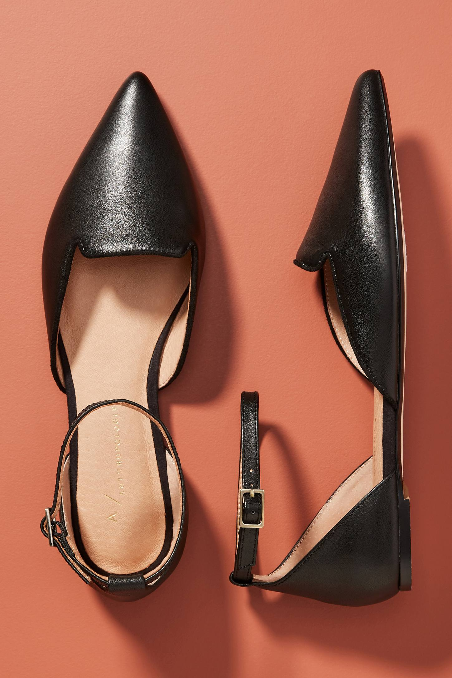 Black Pointed Toe Leather Flats