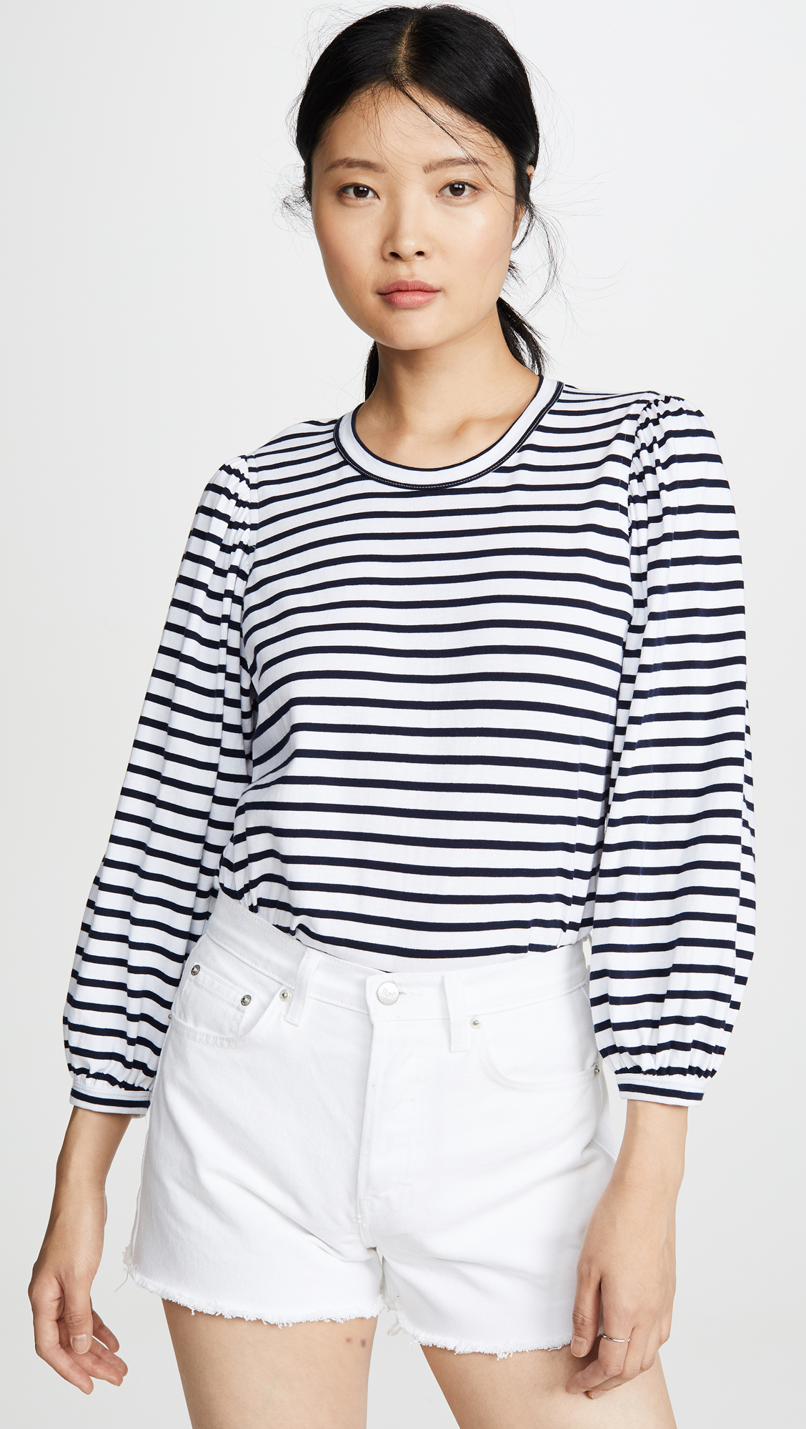 Striped Puff Sleeve Tee