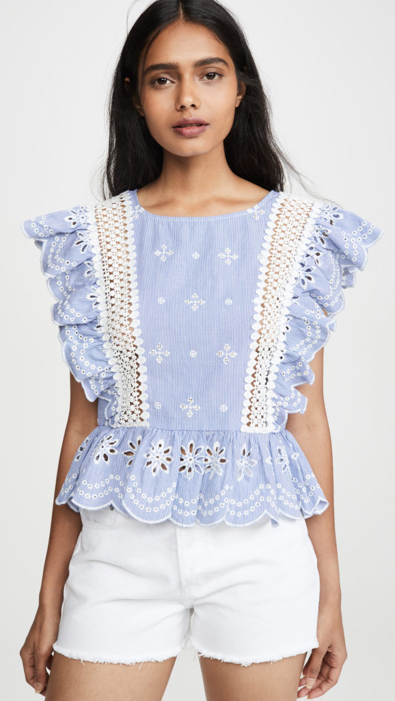Blue Eyelet Blouse