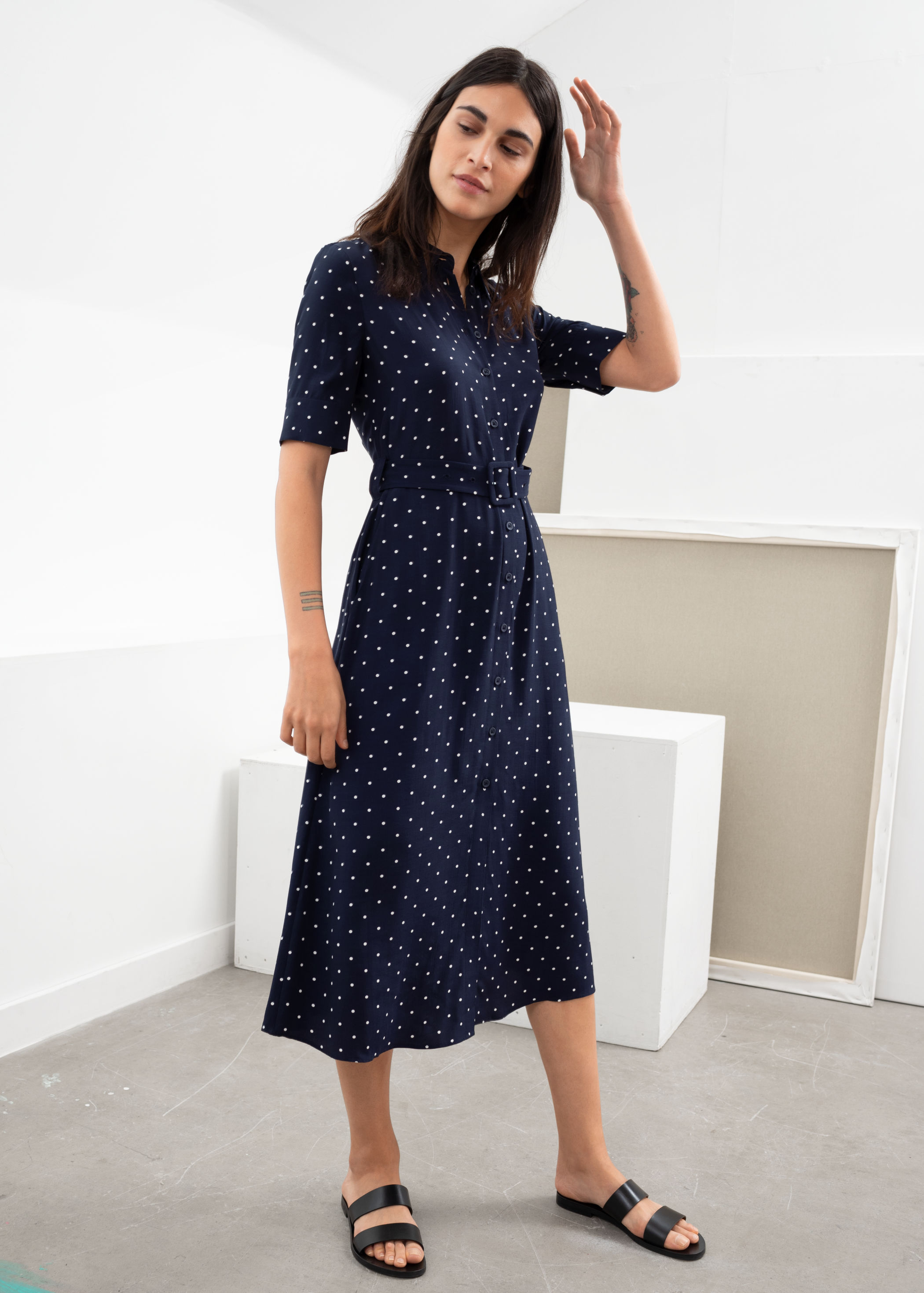 Blue Polka Dot Maxi Dress