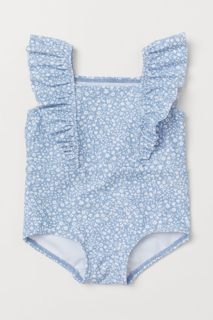 Blue and White Floral Ruffle Swimsuit Baby Girl