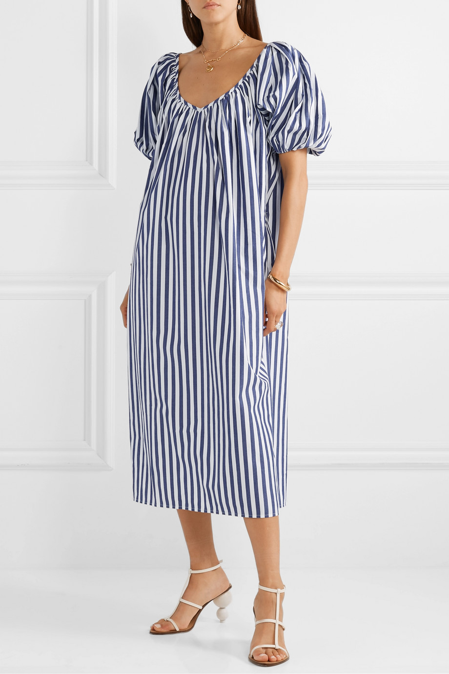 Striped Oversized Midi Dress