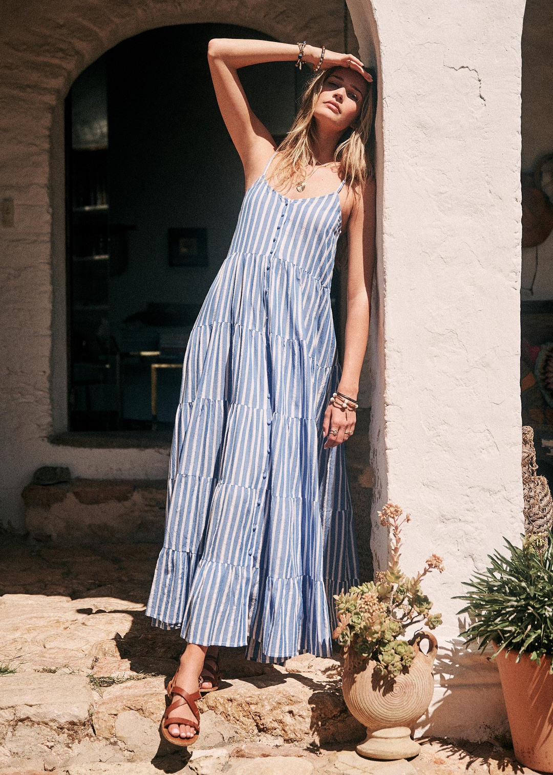 Blue and White Striped Long Dress